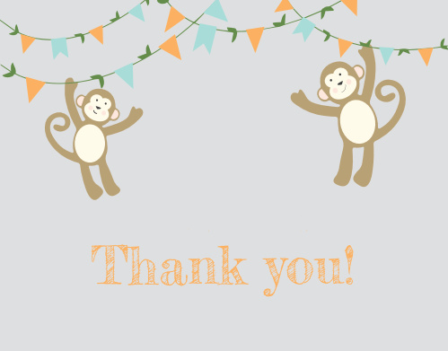 The adorable monkeys that grace the front of the Monkey'n Around Baby Shower Thank You Cards will make the recipients smile when they get them.