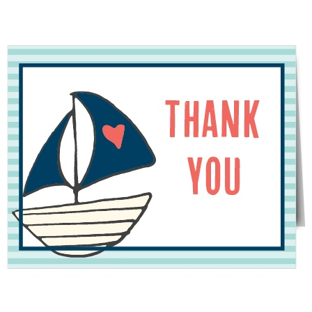 Ahoy Matey! This adorable nautical themed Sailboat Thank You Card will absolutely bring a smile to anyone's face!