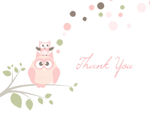 The Owl Balloon Baby Shower Thank You Card sports an adorable parent and child owl illustration.
