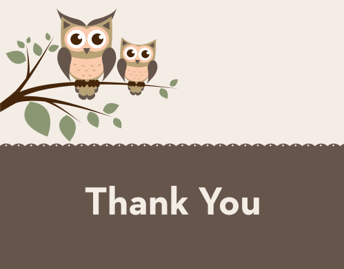The Owl Branch Baby Shower Thank You Card sports an adorable parent and child owl illustration.