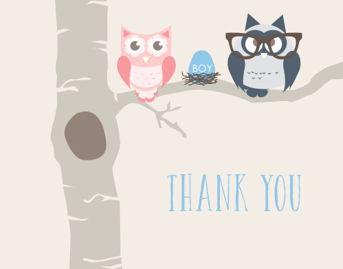 The Owl Parents Boy Baby Shower Thank You Card sports an adorable parent and child owl illustration.