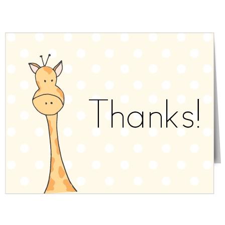 Peeking Giraffe Baby Shower Thank You Cards