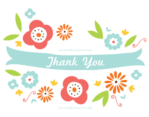 The Playful Flower Baby Shower Thank You Card has a super cute minimalist design of flowers and banners on the front, with a ton of room to write your heartfelt thanks on the rest of the card.
