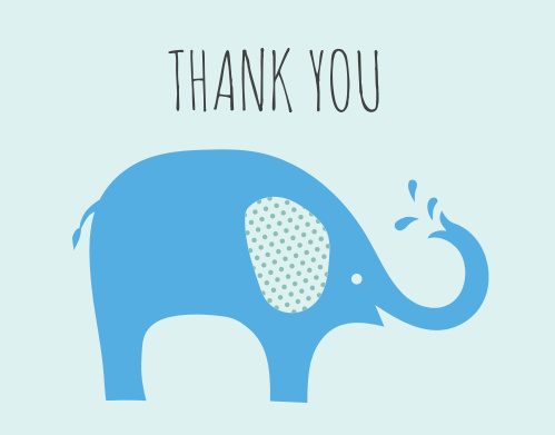 The Polka Dot Elephant thank you cards are the perfect way to show gratitude fwith its simple and fun chevron eared elephant illustration