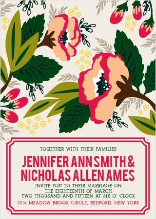 The Bold Floral Wedding Invitation features a unique illustration of tropical flowers. Bright colors and fun bold lines make for an invitation that will stick out above the crowd.