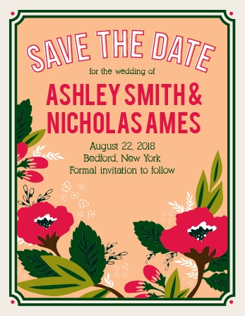 One size fits all Save The Date card.