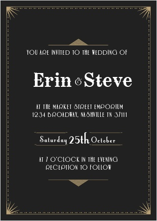 Stun your guests with the gorgeous Night Deco Wedding Invitation.