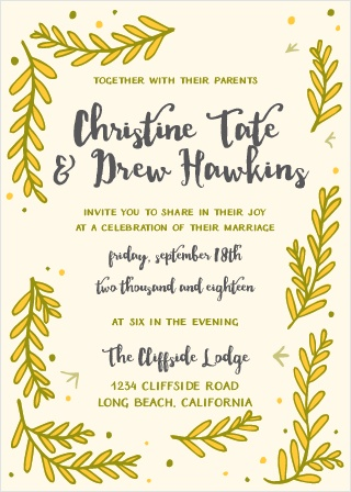 The Flowing Ferns Wedding Invitation features a lovely array of illustrated ferns. Bright colors and fun illustrated lines make for an invitation that will stick out above the crowd.