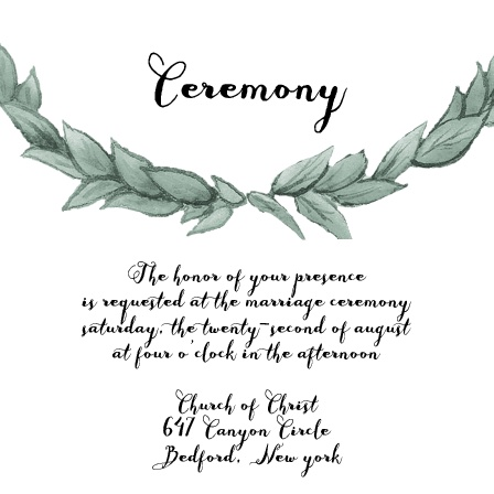 Leafy Love Ceremony Cards