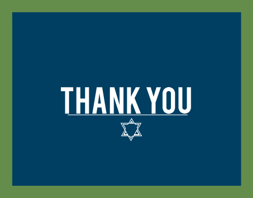 Pairing nicely with our Bordered Collection, the Bordered Bar Mitzvah Thank You Card is the perfect way express your gratitude to those who came and celebrated your big day!