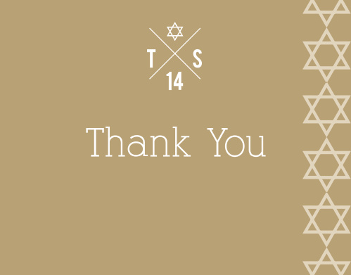 The Joyous Monogram Bar Mitzvah Thank You Card has so many great features! From the line of stars running down the side, to the option to have initials showcased at the top, and don't forget about the endless color combinations!
