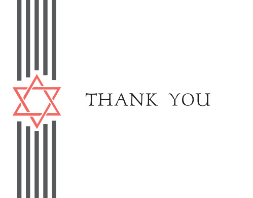 Simple and tasteful, the Ribbons Bar Mitzvah Thank You Card would be the perfect way to send your gratitude to all those who celebrated with you!