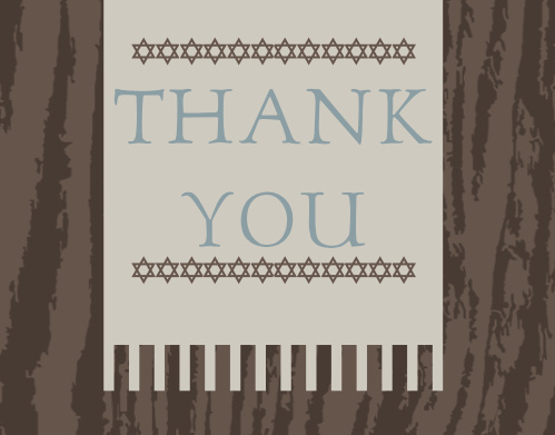 Nothing is more dramatic than the Single Shawl Bar Mitzvah Thank You Card, with a wood pattern background, draping shawl and endless customization possibilities, you cannot go wrong!
