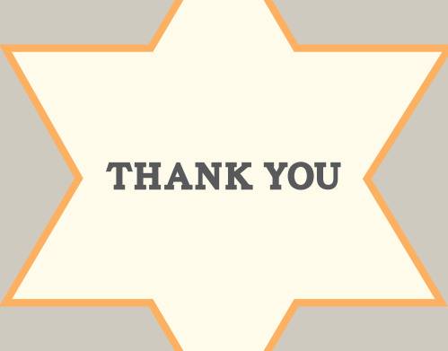 Text bordered by a large star make the Star Frame Bar Mitzvah Thank You Card one of a kind!