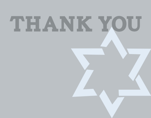 Decorated with a large Star of David, your guests will love receiving the Star of David Bar Mitzvah Thank You Card.