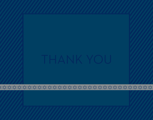 Full of detail, the Diagonal Stripes Bar Mitzvah Thank You Card makes for a card your family and friends will love! Customize each element so they can't help but to think of you!