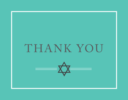 The perfect mix of dazzle and charm, the Classy bar Mitzvah Thank You Card is sure to be a hit! Completely customizable, too!