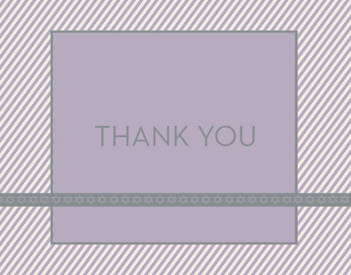 The Diagonal Stripes Bat Mitzvah Thank You Card is absolutely adorable! With it's striped border and star banner, express your gratitude to family and friends in style!