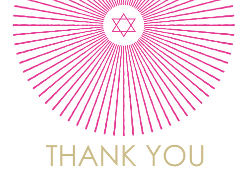With beams of color radiating across the page, The Star Shine Bat Mitzvah Thank You Card is perfect for expressing your gratitude to all those who came and celebrated with you! Completely customizable, too!