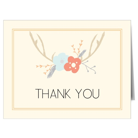 Trendy and fun, the Antler Bridal Shower Thank You Card makes for the perfect way to send your thanks! Customize the fonts, text and colors!