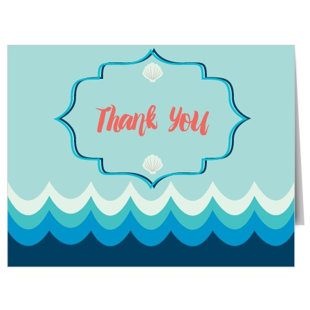 Beach Waves Bridal Shower Thank You Cards