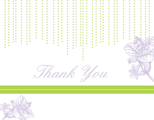 Adorned with a beaded design and beautiful flowers, the Lilly Bridal Shower Thank You Card will sure be a hit with your recipients. Customize the font, text and colors of this design to create a card unique to you!
