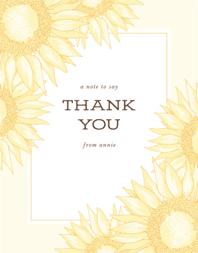 With a large sunflower at the focus of this card, the Sunflower Double Sided Bridal Shower Thank You Card will brighten anyone's day! Completely customizable, too!