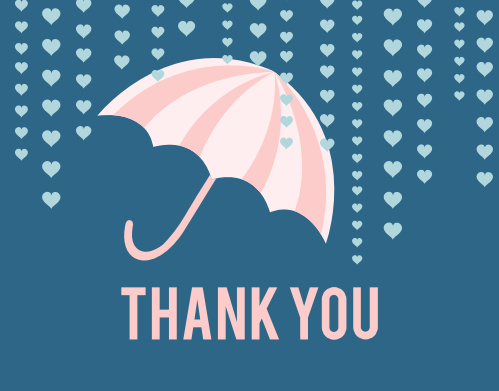 Shower your family and friends in love and gratitude with the Umbrella Bridal Shower Thank You Card! Completely customizable, too!