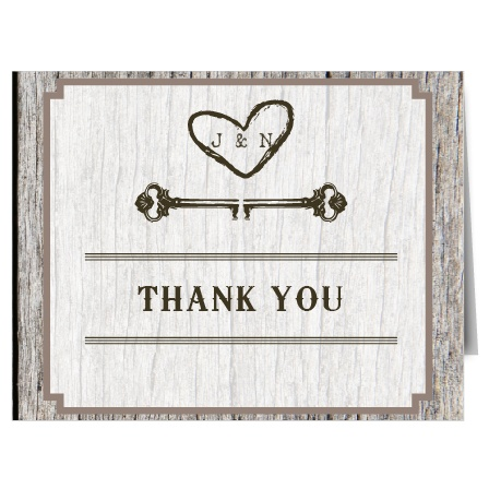 Designed as if you carved your initials into a tree, the Wood Bridal Shower Thank You Card is perfect for those wanting a rustic and chic feel to their card. Completely customizable, too!