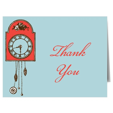 Decorated with a vintage clock, the Clock Bridal Shower Thank You Card is a perfect way to express your gratitude to those who spoiled you with things for all hours of the day!  Completely customizable, too!
