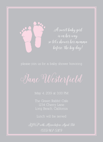 The Little Girl's Footprints Baby Shower Invitation feature cute footprints next to a spot for a cute saying or quote, all surrounded by a simple and adorable border, with plenty of room for your details.