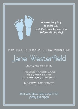 Little Boy's Footprints Shower Invitation