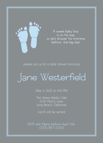 The Little Boy's Footprints Baby Shower Invitation feature cute footprints next to a spot for a cute saying or quote, all surrounded by a simple and adorable border, with plenty of room for your details.