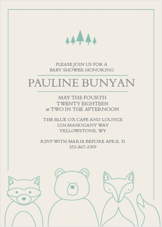 Woodland Outline Baby Shower Invitations