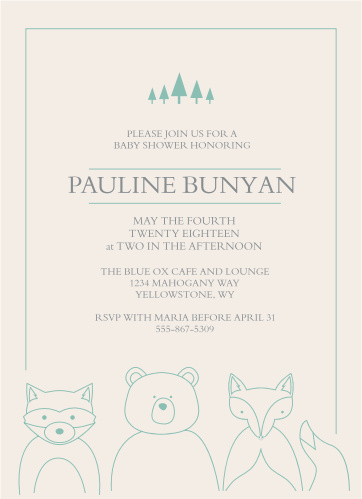 The Woodland Outline Baby Shower Invitations is the perfect invite for those wanting a minimum, but whimsical invite. Featuring plenty of room for your own text, and adorably illustrated woodland creatures at the bottom; it is sure to get your guests excited.