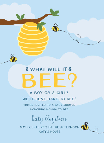 Bumble bee baby shower invitations match your color style free what will it bee baby shower invitations filmwisefo