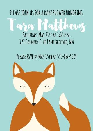 Happy Fox Baby Shower Invitations