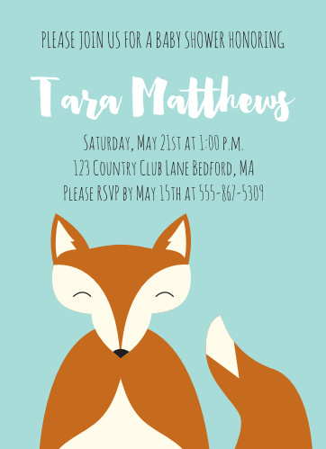 The Happy Fox Baby Shower is has the most adorable fox, and plenty of room for your custom text.