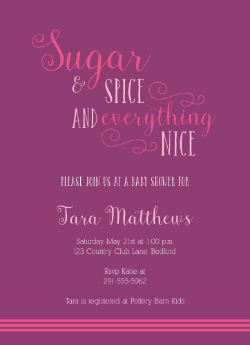 Sugar And Spice Baby Shower Invitations Match Your Color Style Free