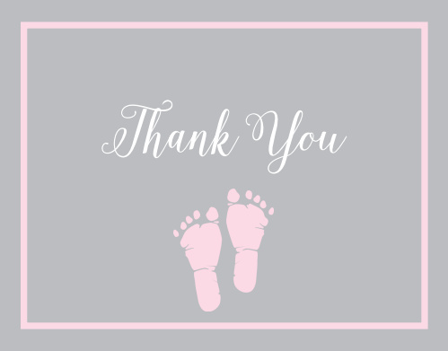 little girl s footprints foil baby shower thank you cards by basic