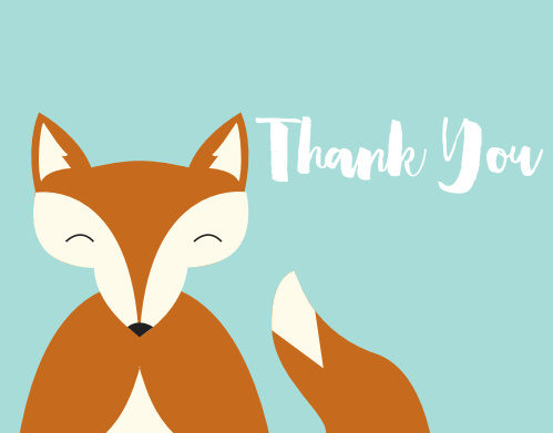 Say thanks with the adorable Happy Fox Baby Shower Thank You Card! Customize the fonts, text and colors of this design!