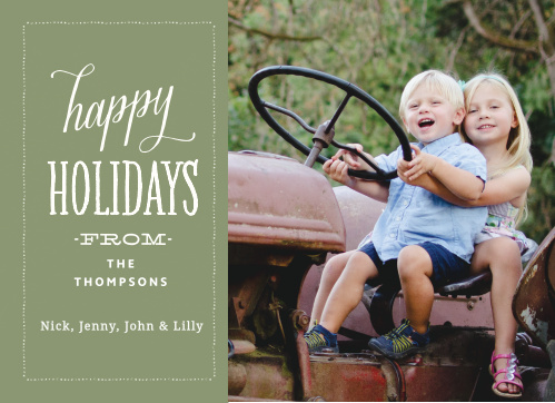 Customize each element of the Pine Tree Holiday Card by choosing from our hundreds of font, text and color options.