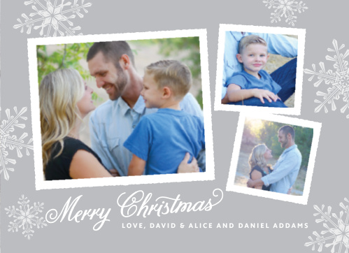 With plenty of photo space, a distressed wood background, glistening snowflakes and hundreds of customization options, the Rustic Snowflake Holiday Card makes for an excellent choice this holiday season.