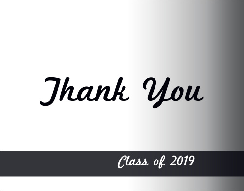 With a customizable gradient, class banner and customizable text boxes, the Photo Fade In Graduation Thank You Card is a great way to express your gratitude.  Choose from hundreds of font, text and color options