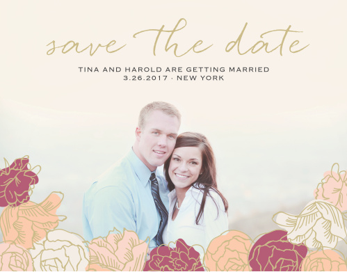 Stunning, multi-colored, rose blooms with gold accents adorn the bottom of your engagement photo for the Elegant Blooms Save-the-Date Cards.