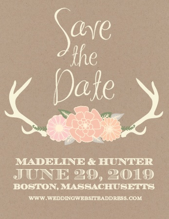 The Blooming Antlers save-the-date cards is part of the Love vs Design collection by Basic Invite.