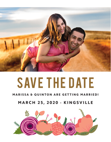 Our Bold Blooms Save-the-Date Cards feature a gorgeous picture of the two of you as their primary focus.