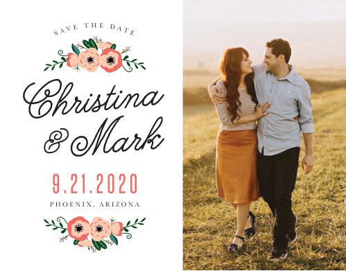 Fall in love with the Botanical Love Save the Date Cards.
