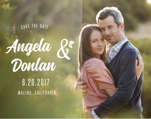 Decorative text with whimsical leaves accent your photo on the Floral Charm Save-the-Date Cards.