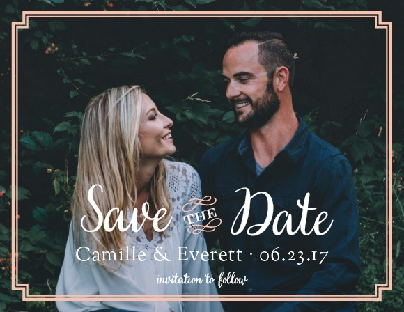 With the same elegant peach pink borders, beautiful typefaces, and a background photo of your choosing, Utterly Chic Save-the-Date Cards are a gorgeous prelude to your actual invitations.